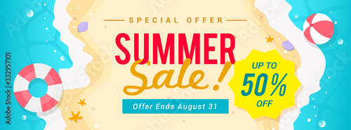 Obraz Summer sale banner vector illustration. top view of summer beach waves background - fototapety do salonu