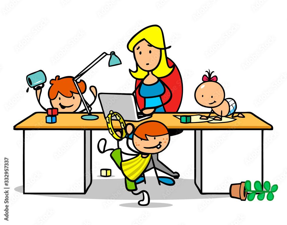 Fototapeta Frau im Home Office mit Kindern am Schreibtisch