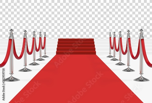 Red carpet on stairs with red ropes on silver stanchions Poster Mural XXL