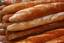 Fresh French Baguette Bread On...
