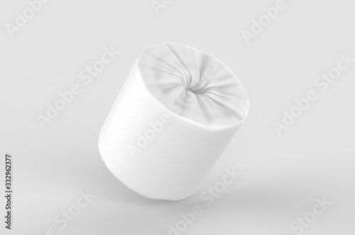Fotomural Blank Soft Toilet Paper Roll For Branding, 3d render illustration