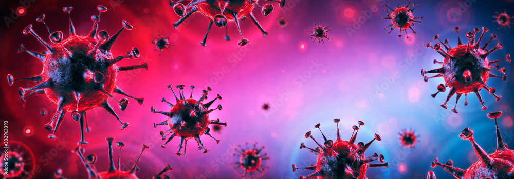 Fototapeta Covid-19 - Coronavirus In Danger Background - Virology Concept - 3d Rendering