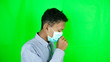 canvas print picture - Asian men wear health masks when they are coughing