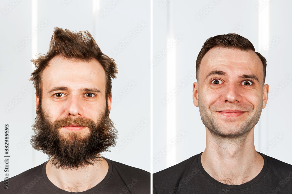 Fototapeta happy guy with beard and without hair loss. Man before and after shave or transplant. haircut set transformation.