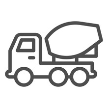 Concrete Mixer Truck Line Icon. Heavy Machine, Cement Blender Vehicle Symbol, Outline Style Pictogram On White Background. Transport Sign For Mobile Concept, Web Design. Vector Graphics.