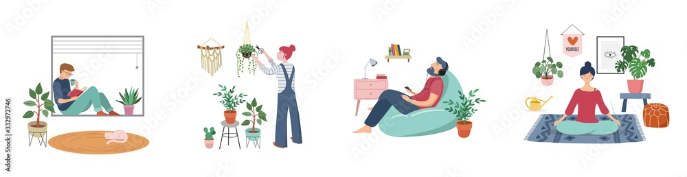 Fototapeta Young women and men are sitting at their home, room or apartment, practicing yoga, enjoying meditation, relaxing on sofa, reading books, baking and listening to the music. Flat cartoon vector