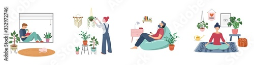 Fototapeta Young women and men are sitting at their home, room or apartment, practicing yoga, enjoying meditation, relaxing on sofa, reading books, baking and listening to the music. Flat cartoon vector obraz