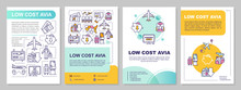 Low Cost Avia Brochure Template. Affordable Flight, Budget Travel Flyer, Booklet, Leaflet Print, Cover Design With Linear Icons. Vector Layouts For Magazines, Annual Reports, Advertising Posters