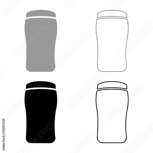 Photo Antiperspirant dry Deodorant Cosmetic product icon outline set black grey color