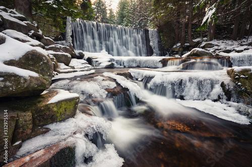 Karpacz, Poland. Winter view of Wild Waterfall (Dziki Wodospad) - fototapety na wymiar