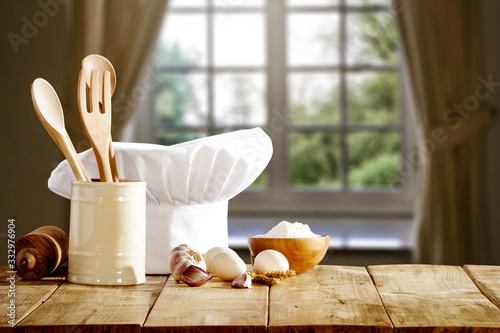 Desk of free space and cook hat . Canvas Print