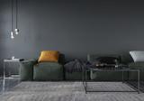 Living room interior with soft minimalist green sofa