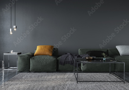 Obraz Living room interior with soft minimalist green sofa - fototapety do salonu