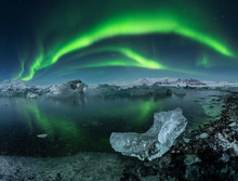 Vivid Northern Lights Over Icy...