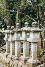 Close Up Of Sculptural Stone Pillars,Japanese Shinto Shrine