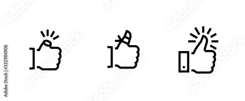 Set of Thumbs up down icons. Editable line vector. Wallpaper Mural