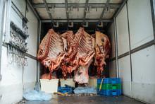 Meat In Industrial Fridge