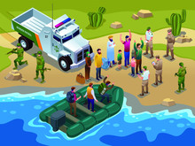 Border Patrol Detained Illegal Immigrants Arriving In A Motor Boat To The Seashore And Special Vehicles Isometric Icons On Isolated Background