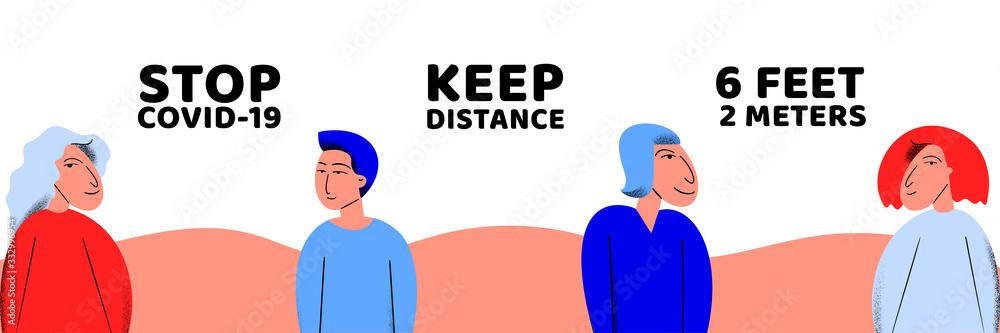 Fototapeta Pandemic medical concept banner with social distance. Vector illustration. Coronavirus outbreak. 2019-nCoV background. Keep distance