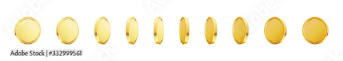 Fototapeta Set of rotating gold coins. 3d dollar coins. Golden money set. obraz