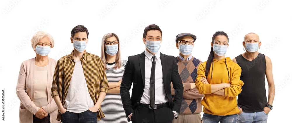 Fototapeta Group of young and older people wearing protective medical face masks