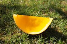 Jelly Gummy Galia Melon Yellow Orange Fruit On Grass