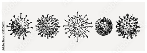 Different kinds of virus - sketches collection Canvas Print