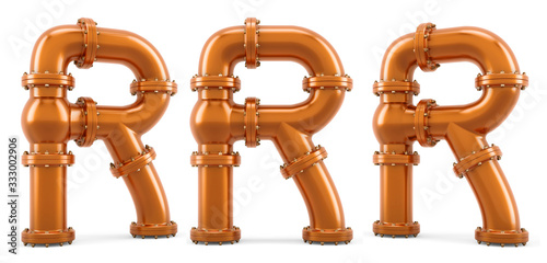 Letter R from copper pipes, 3D rendering Wallpaper Mural