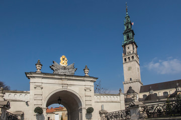 Czestochowa, Poland, 19 March 2020: Entrance gate to the sanctuary of the Mother of God in Jasna Góra in Częstochowa. Because of the Coronavirus COVID-19 epidemic, there are no people