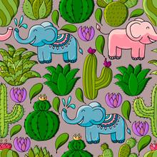 Cute Vector Illustration. Cartoon Images Of Cactus. Cacti, Aloe, Succulents. Decorative Natural Elements