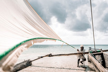 Fisherman Pulling Rope Of Sail On Beach