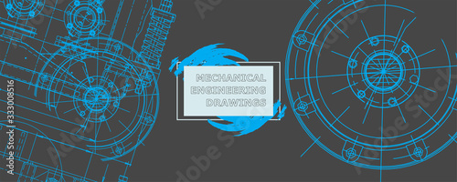 Fototapeta Abstract background concept mechanical engineering drawing obraz