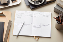 Office Supplies And Weekly Planner