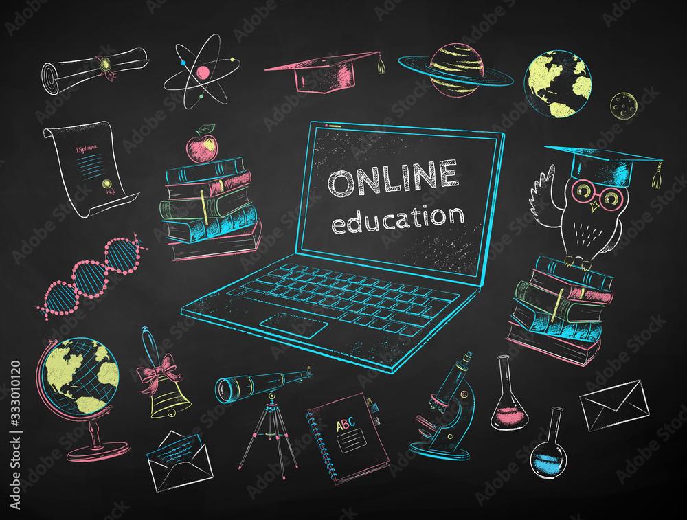 Fototapeta Illustration set of online education items