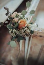 Posy Of Roses With Dainty Blossom And Green Leaves