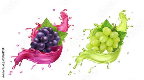 White and red wine grapes in realistic juice splash Fotobehang