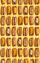 Different Hot Dogs In Overhead Pattern