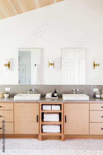 Natural Wood Vanity in Modern Master Bathroom - 333016760