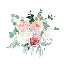 Silver Sage Green And Blush Pink Flowers Vector Design Bouquet