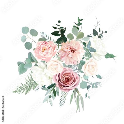 Silver sage green and blush pink flowers vector design bouquet Fototapeta