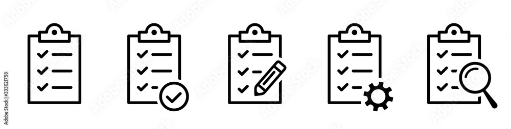 Fototapeta Clipboard icon. Checklist with gear, checkmarks, magnifier and pencil. Quality check line sign. Check List flat line icon. Form icon. Clipboard with gear technical support check list - stock vector.