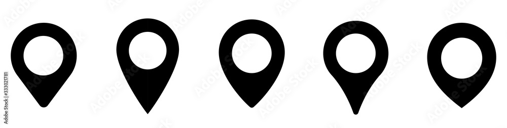 Fototapeta Location pin icon. Map pin place marker. Location icon. Map marker pointer icon set. GPS location symbol collection. Flat style - stock vector.