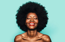 Topless Happy Afro Woman Posin...