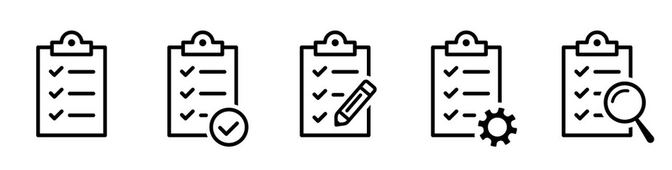 Clipboard icon. Checklist with gear, checkmarks, magnifier and pencil. Quality check line sign. Check List flat line icon. Form icon. Clipboard with gear technical support check list - stock vector.