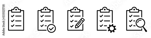 Fototapeta Clipboard icon. Checklist with gear, checkmarks, magnifier and pencil. Quality check line sign. Check List flat line icon. Form icon. Clipboard with gear technical support check list - stock vector. obraz