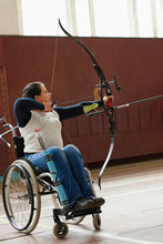 Disabled Archer Drawing Bow
