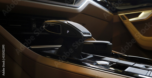 Photo Automatic transmission control lever of a modern luxury car