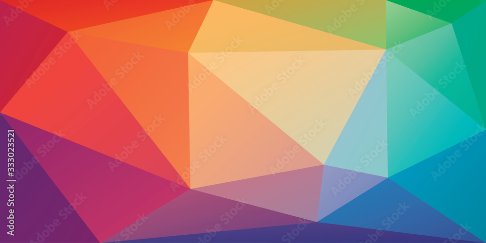 Fototapeta Low poly background with irregular triangles in rainbow colors. Bright colorful polygonal banner template. Multicolor triangular backdrop in origami style. Vector eps8 illustration.