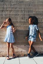 Smiling Girls Having Fun On St...