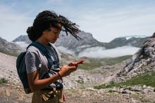 Happy Brown Skinned Woman Smiling On The Phone The Europe Peaks In Asturias